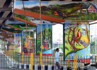 Bikram Chowk flyover wall paintings Jammu